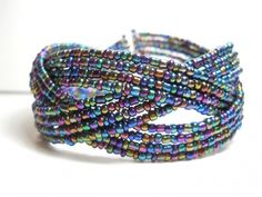 Metallic Blue, Green and Purple Cuff Bracelet | Wrapped and Snapped