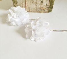 White Flower Bobby Pins White Flower Hair by JessieKateDesigns