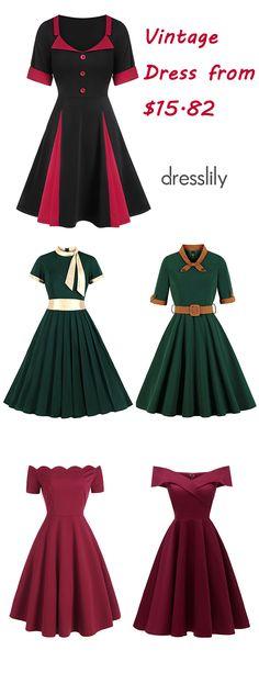$15.82 Short Sleeve Scalloped A Line Dress $24.99 Foldover Off The Shoulder Skater Cocktail Dress #dresslily #retro #vintage #women #clothing #dress