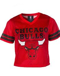af91380abb1454 NBA 4 HER Chicago Bulls mesh crop top Long sleeves Stripes on sleeves V  neck cut Lightweight for com.
