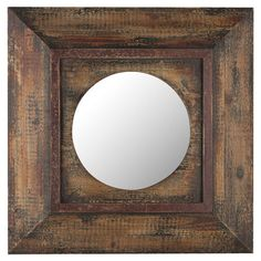 Showcasing a distressed brown finish and wood frame, this eye-catching wall mirror is a perfect addition to your living room or entryway decor.