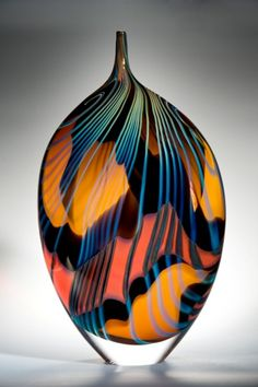 David Hockney Tribute, Peter Layton the colours are so goregous orange green blue black. Blown Glass Art, Art Of Glass, Glass Vase, Glass Marbles, Glass Ceramic, Ceramic Art, Fused Glass, Stained Glass, Cristal Art