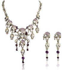 EVER FAITH Vintage Style Skull Pirate Earrings Necklace Set Purple Austrian Crystal Halloween N02084-2 EVER FAITH http://www.amazon.com/dp/B00G9JXJCM/ref=cm_sw_r_pi_dp_QGFKvb140MGBB