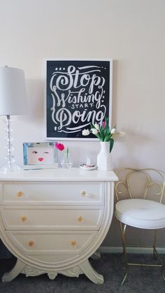 Bedroom Update- Apartment Tour - Via Pineapples and Coffee Cups Blog Decorating with artwork and accessories from Homegoods!