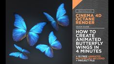 Cinema And Octane Render - How To Create Animated Butterfly Wings In 4 Minutes Cinema 4d Tutorial, After Effect Tutorial, Create Animation, Generative Art, Elements Of Design, Butterfly Wings, Motion Design, Design Tutorials, 3 D