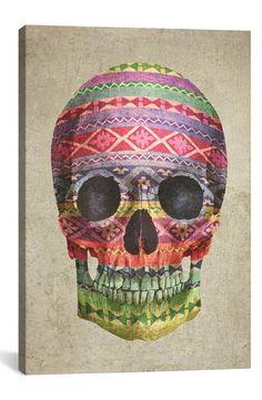 'Navajo Skull - Terry Fan' Giclée Print Canvas Art