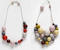 wooden bead necklace handmade by kristina klarin
