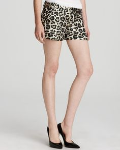 Alice + Olivia Shorts - Cady Cuff Leopard | Bloomingdale's