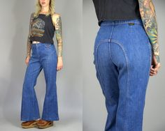 """70s Wrangler Bell Bottoms Bohemian Hip Hugger Blue Denim Flared Bell Bottom Jeans  Super cute hip hugger bells with two front snap down stash pockets.  Nice big bells.  Marked as size 13/14. These were pinned on model. Please refer to measurements.  Measurements Waist: Just a hair under 32"""" Rise: 11 Hips: 41 Inseam: 31"""" Bell: 12"""" flat Total length: 39"""""""