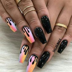 Discovered by 🖇Tiaaa💕. Find images and videos about pink, black and nails … Discovered by 🖇Tiaaa💕. Find images and videos about pink, black and nails on We Heart It – the app to get lost in what you love. Cute Halloween Nails, Halloween Acrylic Nails, Black Acrylic Nails, Halloween Nail Designs, Best Acrylic Nails, Acrylic Nail Designs, Pink Halloween, Halloween 2020, Black Nails