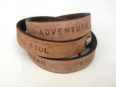Inspirational Words Rustic Leather Cuff for Men or Women  www.hangondesigns.etsy.com