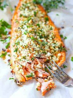 You will love this super flavorful and easy to make Salmon Crusted with Feta and Herbs! Just sprinkle and in the oven it goes! #bakedsalmon #healthybakedsalmon # easybakedsalmon Fish Recipes, Seafood Recipes, Gourmet Recipes, New Recipes, Cooking Recipes, Healthy Recipes, Icing Recipes, Healthy Food, Fudge Recipes