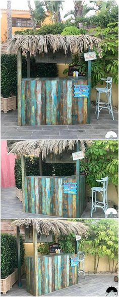 Pallets Wooden Made Retro Look Bar Everyone has some kind of nostalgia and having it for old ancient retro furniture is a class of its own. This reclaimed wood pallet retro bar recalls some. Outdoor Tiki Bar, Outdoor Pallet Bar, Wood Pallet Bar, Outdoor Bars, Wood Pallet Recycling, Recycled Pallets, Wooden Pallets, Recycled Crafts, Bar Furniture