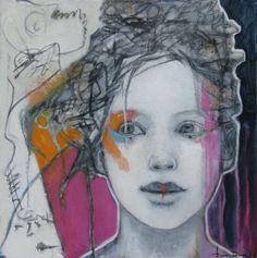 DOUCE FOLIE - Joan Dumouchel - 24'' x 24'' - technique mixte sur toile