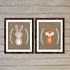 Nursery Wall Art Printable Woodland Critters, Fox and Bunny Set of 2- 8x10- Instant Download Digital Print Forest Baby Kids Nursery Decor