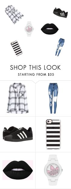 """Black and White!!!!"" by dyhmonae on Polyvore featuring Rails, adidas and Casetify"