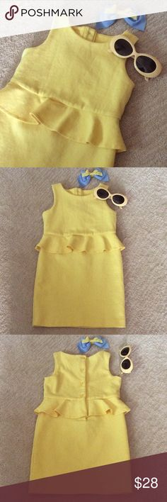 Janie and Jack Girls Peplum Dress Lovely peplum girls dress. Comes with the hair bow and sunglasses that match from Janie and Jack. Makes adorable pictures! Janie and Jack Dresses