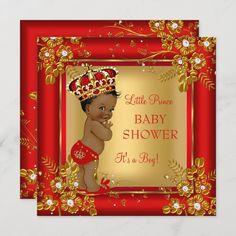 Invitación Niño Baby Shower Oro Africano African American Babies, American Baby, Pregnancy Announcement Cards, Elegant Baby Shower, Virtual Baby Shower, Oh Deer, Baby Shower Invitations For Boys, Baby Boy Shower, Gold Shower