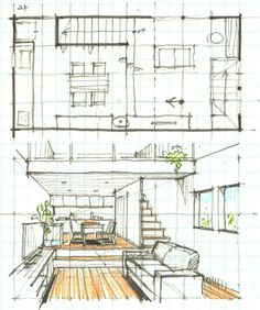 Interior Architecture Drawing, Architecture Drawing Sketchbooks, Interior Design Renderings, Architecture Concept Drawings, Drawing Interior, Interior Sketch, Architecture Plan, Architecture Details, House Design Drawing
