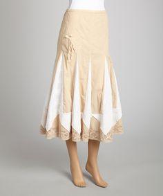 This Saga Beige & White Ruffle Midi Skirt by Saga is perfect! #zulilyfinds