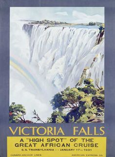 "Vintage 1931 Cunard Victoria Falls Poster - purchase 18"" x 24"""