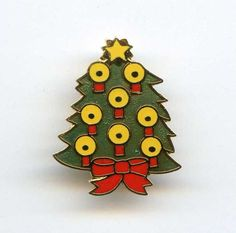 Vtg 1973 XMAS Tree Christmas Enamel Gold Tone Small Brooch Pin by Aviva Ent #Aviva
