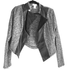 Miley and Molly faux Leather/Jersey Blazer w. slit This awesome blazer/jacket is new with tags. Its grey with leather trim and gold zippers at the cuffs. The back is awesome with slits and the leather and gold zipper trim the neckline. Miley and Molly Jackets & Coats Blazers