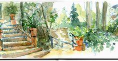 La colla dels dimecres: Jardins de la Tamarita - acuarela de Cristina Curto