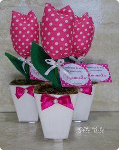 Lembrancinha #tulipasdetecido #aniversario #maternidade #batizado #chadebebe #chadefralda #nascimento #artesanato #lillebebe