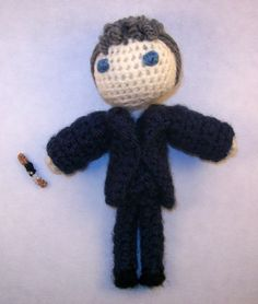 BBC Doctor Who's 12th Doctor with Sonic Screwdriver ( Handmade Crochet Doll ) by PaintsAndNeedles  ||  I wasn't sure how I felt about his hair as I was making him, but now I love it!