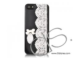 Lace Pearl Series iPhone 5 Cases - Bow Black