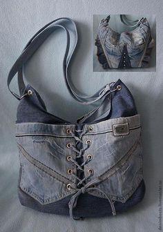 Купить Сумка джинсовая двусторонняя-1 - синий, однотонный, джинсовый стиль, джинсовая сумка