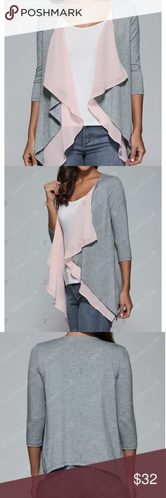 ❗️ONE HOUR SALE❗️Pink and Heather Grey Cardigan Lightweight soft cardigan. Great for work or casual. Soft pink inner front portion. Heather grey sleeves and back. Brand new in package. Sweaters Cardigans