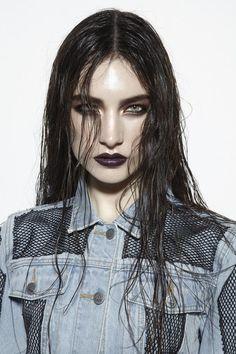 Stunning smokey eyes with dark purple lips. Model:Jacquelyn Jablonski.