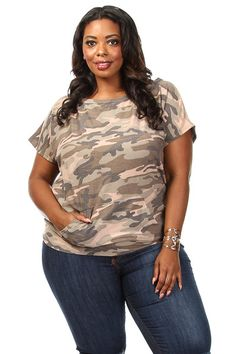 Plus Size Camo Print Short Sleeve Top