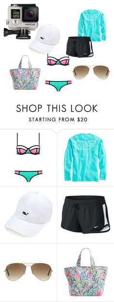 """A Day At The Beach"" by virginiawgarner ❤ liked on Polyvore featuring Vineyard Vines, NIKE, Ray-Ban, Lilly Pulitzer and GoPro"