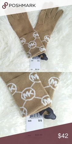 Michael Kors Gloves Brand new tags attached   100%Authentic Michael Kors tan and cream monogrammed gloves. These make a great gift!  Gloves/mittens Michael Kors Accessories Gloves & Mittens