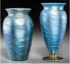 63077: Two Durand Threaded Blue Lustre Glass Vases Circ : Lot 63077