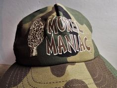 MOREL MANIAC Mushroom Camouflage Camo Cap Hat with Mesh Snap Back Made in U.S.A. #SKM #Trucker