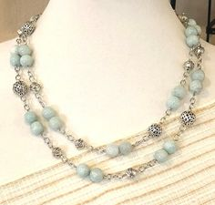 Long Beaded Necklace.  Aquamarine Blue.  By Rbead Designs
