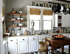 Light Grey kitchen and rustic island