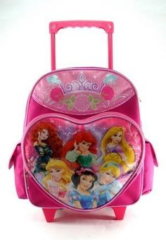 Princess All Small Toddler Cloth Backpack With Wheels - Heart/ Crown Best Kids Backpacks, Disney Princess Backpack, Backpack Outfit, Heart Crown, Backpack With Wheels, Rolling Backpack, Brave Girl, Travel Style, Unisex