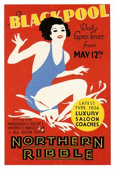 Daily Express Service to Blackpool on the latest 1934 luxury saloon coaches. #vintage #1930s #UK #travel #poster #art