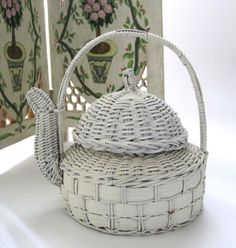 White Woven Wicker Teapot Small Planter by SharetheLoveVintage