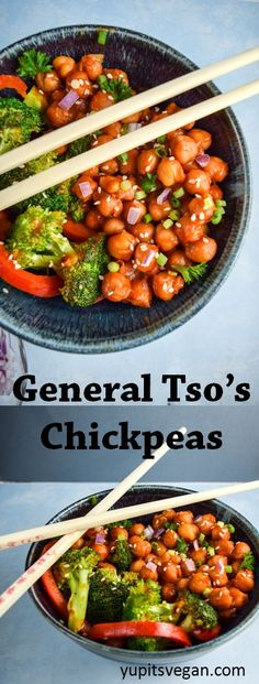 General Tsos Chickpeas | yupitsvegan.com. Sweet and savory #vegan stir-fry of chickpeas with broccoli and red pepper, a healthier version of the restaurant classic. Vegetarian and gluten-free.