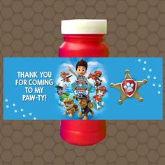 Paw Patrol Boys Birthday Bubble Labels Wrappers Stickers Printable Uprint Digital DIY Instant Download by KDesigns2006
