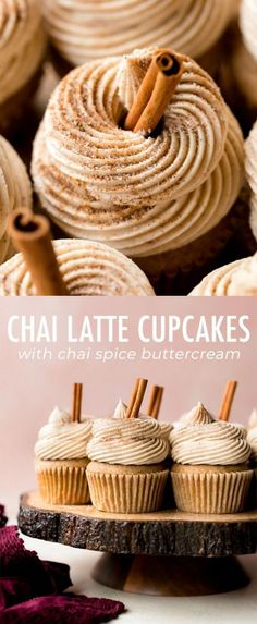 Soft and moist chai latte cupcakes with chai tea, and whipped chai buttercream! This simple cupcake recipe tastes exactly like your favorite coffeehouse chai latte drink. Recipe on sallysbakingaddic… cupcakes Köstliche Desserts, Dessert Recipes, Food Deserts, French Desserts, Plated Desserts, Dinner Recipes, Dinner Entrees, Bakery Recipes, Turkey Recipes