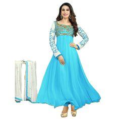 Karisma Kapoor 60 Gm Georgette Resham Work Sky Blue Long Anarkali Suit - FB21 In Stock: Rs 999