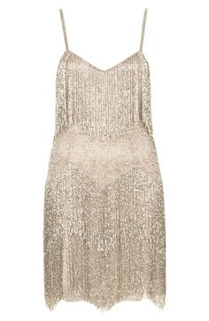 Kate Moss for Topshop Beaded Fringe Tiered Dress | Nordstrom