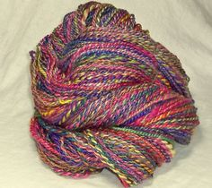HANDSPUN 8 oz Yarn Flower Rainbow  BFL Blue Faced Leicester Silk 2 ply HSY21 #HandmadebyME #Handspun